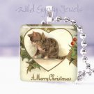 "Vintage Merry Christmas CAT HEART Holly 1"" glass tile pendant necklace NEW"