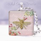 "Parisian gold bee pink mauve flowered chic shabby 1"" glass tile pendant necklace"