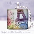 "Paris Eiffel Tower multi color flower chic shabby 1"" glass tile pendant necklace"