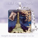 """Night Paris Eiffel Tower Spring Pink chic shabby 1"""" glass tile pendant necklace"""