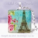 "Paris Eiffel Tower bright blue roses chic shabby 1"" glass tile pendant necklace"