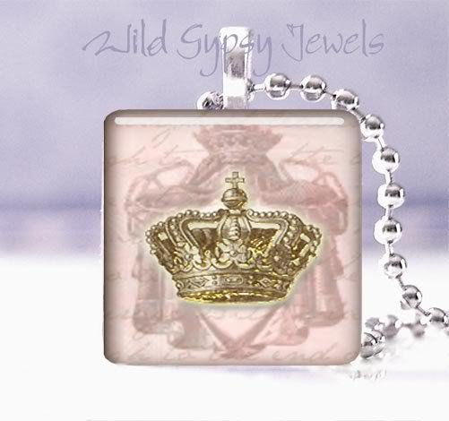 Paris French PINK Gold crown chic shabby Victorian glass tile pendant necklace