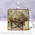 "World Globe Clock Time Victorian Si-Fi SteamPunk 1"" glass tile pendant necklace"