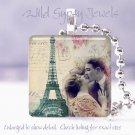 Paris Eiffel Tower LOVE Vintage couple chic shabby glass tile pendant necklace