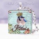 Paris blue bluebird bluejay crown French Victorian glass tile pendant necklace