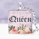 Paris Queen PINK roses French Victorian chic shabby glass tile pendant necklace