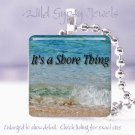 Jersey Shore Beach Girl Ocean Sea Waves glass pendant