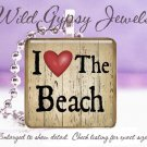 "Beach Bum I LOVE the Beach Sand RED black 1"" glass tile pendant necklace"