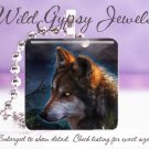 """Wolf Yellow eyes Mystical MOONscape Mountains Nature 1""""  Glass Tile Pendant neck"""