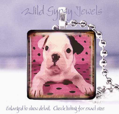 "Cute French Bulldog Pink Polka dot watercolor 1"" glass tile pendant necklace"