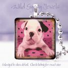 "Cute French Bulldog Pink Polka dot watercolor 1"" glass tile pendant necklace"