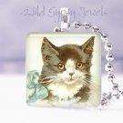 """Vintage Postcard Tuxedo CAT BLUE BOW 1"""" glass tile pendant necklace NEW"""