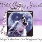 """Wolf Blue Moon howing B&W gray nature lover GIFT 1"""" glass tile pendant necklace"""