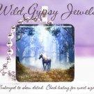 "Unicorn forest glen mystical magical 1"" glass tile pendant necklace"