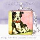"Sweet English bulldog Vintage puppy dog 1"" pendant PINK"