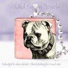 "Spike collar Bulldog PINK dog Vintage B&W 1"" sq pendant"