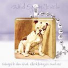 "Vintage Bulldog DOG puppy canine 1"" glass pendant tile"