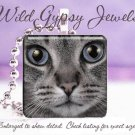 Grey Cat KITTEN Blue Eyes Glass Tile Pendant Necklace