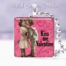 "Pink Kiss Me Valentine Vintage Children 1"" glass tile pendant necklace gift idea"
