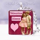"Valentine KISSES vintage children PINK  heart 1"" glass tile pendant necklace"