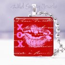 """Pink red KISS XOX Valentine Day 1"""" glass tile pendant necklace Holiday Gift idea"""