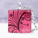 "Magenta pink black vines scrolls LOVE 1"" glass tile pendant necklace gift idea"