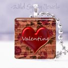 """Valentine's Day RED HEART sheet music 1"""" glass tile pendant necklace gift idea"""