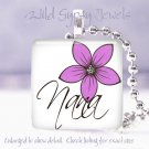 "Mother's Day Lavender PINK floral special Nana 1"" glass tile pendant necklace"