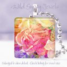 "Bright FLORAL yellow pink rose purple 1"" glass tile pendant necklace Gift Idea"