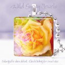 "Bright FLORAL yellow rose pink colorful 1"" glass tile pendant necklace Gift Idea"