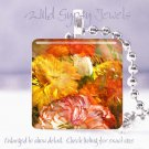 "Flowers rust maize gold orange autumn 1"" glass tile pendant necklace Gift Idea"