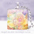"""Pastel FLORAL yellow peach pink orchid 1"""" glass tile pendant necklace Gift Idea"""