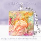 """Pastel tranquil FLORAL yellow peach pink 1"""" glass tile pendant necklace Gift Ide"""