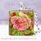 """Vtg Victorian FLORAL rose green pink 1"""" glass tile pendant necklace Gift Idea"""