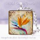 "Bird of Paradise bright orange floral 1"" glass tile pendant necklace Gift Idea"