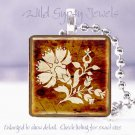 "Faux Stenciled ivory tole flower brown 1"" glass tile pendant necklace Gift Idea"