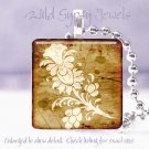 """Faux Weathered wood look tole floral 1"""" glass tile pendant necklace Gift Idea"""