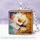 "Magnolia floral white brown blue chic 1"" glass tile pendant necklace Gift Idea"