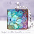 "Mystical floral blue purple brown chic 1"" glass tile pendant necklace Gift Idea"