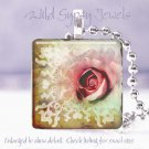 """Pale Pastel rose mint green sienna ivory 1"""" glass tile pendant necklace Gift Ide"""