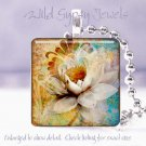 "White water lily cyan blue sienna tan 1"" glass tile pendant necklace Gift Idea"