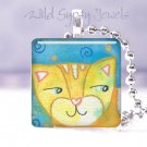 """Colorful yellow tiger cat whimsical 1"""" glass tile pendant necklace great gift id"""