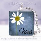 "Mothers Day GIFT special Nana blue daisy 1"" glass tile pendant necklace"