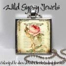 "1"" glass tile chic Vintage Rose Ephemera metal charm pendant necklace gift idea"