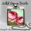 """Red Roses chic shabby Victorian 1"""" glass tile metal charm pendant necklace gift"""