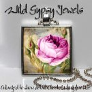"""Vtg Victorian Pink Roses chic shabby 1"""" glass tile metal charm pendant necklace"""