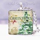"Vtg Christmas Tree Evergreen Balsam Fir 1"" glass tile pendant necklace GIFT idea"