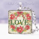 "Vintage Christmas LOVE Pointsetta 1"" necklace GIFT IDEA"