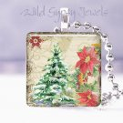 "Vintage Christmas TREE Pointsettia 1"" pendant necklace"