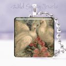 "Vintage white doves pink roses Victorian shabby 1"" glass tile pendant necklace"